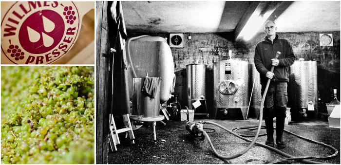 Alles Handarbeit und extra schonend gepresst: Winzer Martin Sturm nach einem langen Erntetag im Keller, Herbst 2012.